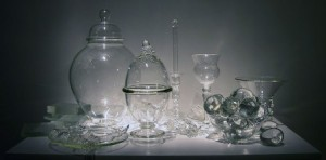 Beth Lipman, Still Life with Eggs, 2010, glass/mixed media, 15 x 36 x 21 in.