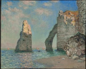 Claude Monet (French, 1840–1926), The Cliffs at Étretat, 1885. Oil on canvas, 65.1 x 81.3 cm. © Sterling and Francine Clark Art Institute, Williamstown, Massachusetts, USA, 1955.528