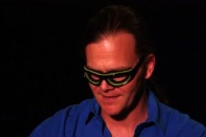 Bono as The Fly? No, Taylor Mali in onion-slicing eyewear (photo by Seth Rogovoy)