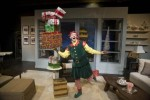 Ryan Winkles is Crumpet the Elf in 'Santaland Diaries' at Shakespeare & Co. (photo by Kevin Sprague)