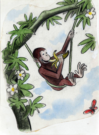 "H. A. Rey, final illustration for ""This is George. He lived in Africa,"" published in The Original Curious George (1998), France, 1939–40, watercolor, charcoal, and color pencil on paper. H. A. & Margret Rey Papers, de Grummond Children's Literature Collection, McCain Library and Archives, The University of Southern Mississippi."