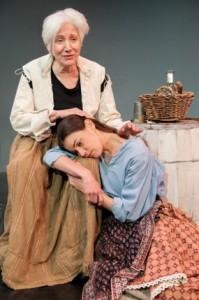 Olympia Dukakis (Mother Courage), Brooke Parks (Kattrin). Photo by Enrico Spada