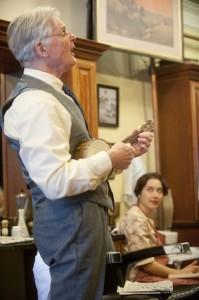 Malcom Ingram in 'Kaufman's Barber Shop' (photo Kevin Sprague)