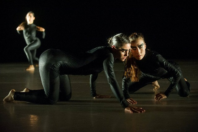 Candice Schnurr and Hyerin Lee of LeeSaar The Company in 'Grass and Jackals' (photo Christopher Duggan)