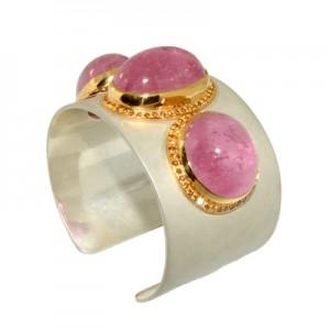 Pink tourmaline cuff bracelet from Jewelz