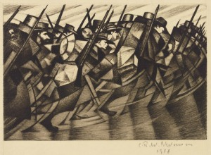 C. R. W. Nevinson (English, 1889–1946), Returning to the Trenches, 1916. Drypoint on paper, 8 9/16 x 11 in. Daniel Cowin Collection © Bridgeman Images