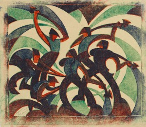 Sybil Andrews (English, 1898–1992), Sledgehammers, 1933. Color linocut on paper, 11 13/16 x 13 9/16 in. Daniel Cowin Collection © Glenbow, Calgary, 2014