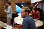 (l-r) Kris Allen, sax; Conor Meehan, drums; Avery Sharpe, bass