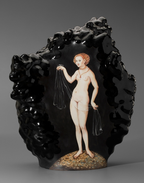 "Kadri Pärnamets, ""Past in Present"" 2015, porcelain, slip, glaze, 16.5 x 14.5 x 7"" (photo John Polak)"