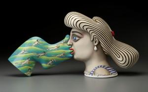 "Sergei Isupov, ""Crosscurrent"" 2015, porcelain, slip, glaze, 11.5 x 23 x 6"" (photo: John Polak)"