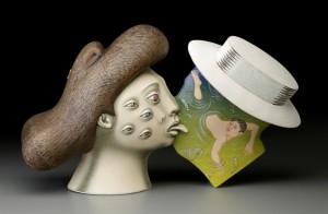"Sergei Isupov, ""Sight Unseen"" 2015, porcelain, slip, glaze, 11 x 19 x 6.5"" (photo John Polak)"