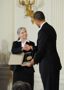 Ella Baff accepting the National Medal of Arts from President Barack Obama (photo Ruth David)