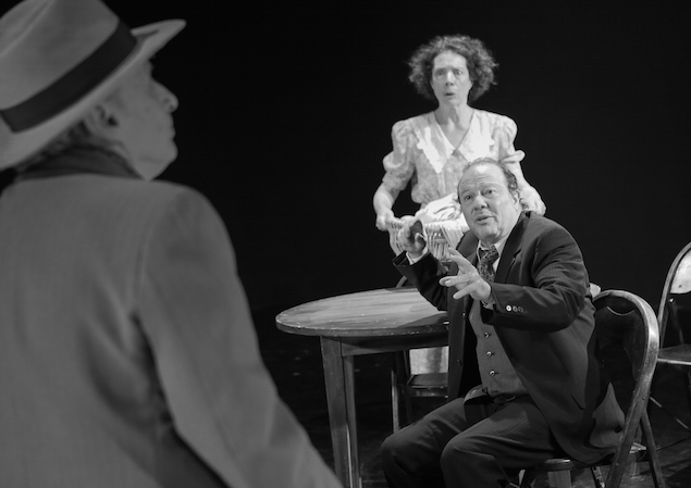 (l-r) Itzy Firestone (Uncle Ben), Avi Hoffman (Willy Loman), Suzanne Toren (Linda) in 'Death of a Salesman' (photo Ronald L Glassman)