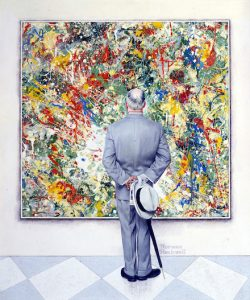 """Norman Rockwell (1894-1978), """"The Connoisseur,"""" 1961. Oil on canvas mounted on board, 37 3/4"""" x 31 1/2"""". Cover illustration for """"The Saturday Evening Post,"""" January 13, 1962. Private collection. ©SEPS: Curtis Licensing, Indianapolis, IN"""