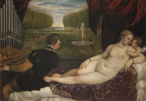Titian (Tiziano Vecelli) (Italian [Venetian], c. 1488–1576), Venus with an Organist and Cupid, c. 1550–1555. Oil on canvas, 59 1/8 x 85 7/8 in. © Photographic Archive. Museo Nacional del Prado, Madrid