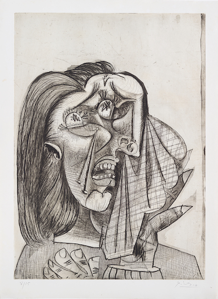 weeping woman picasso essay The weeping woman portrays a woman who is in deep despair throughout the painting, we are able to see quite a lot of sharp edges and contrasting colours.