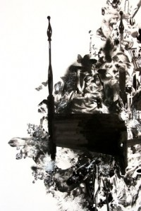 Stacey Howe, Secret Life of a Four Poster Bed, 2011, Pen and ink, wintergreen transfers on paper, 96 x 48 in.