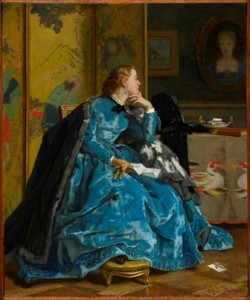 Alfred Stevens (Belgian, active in France, 1823–1906), A Duchess (The Blue Dress), c. 1866. Oil on panel, 31.4 x 26 cm. © Sterling and Francine Clark Art Institute, Williamstown, Massachusetts, USA, 1955.865