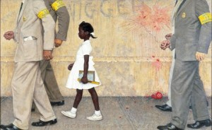"""""""The Problem We All Live With,"""" Norman Rockwell, 1963. Oil on canvas, 36"""" x 58"""". Illustration for """"Look,"""" January 14, 1964. Norman Rockwell Museum Collections. ©NRELC, Niles, IL."""