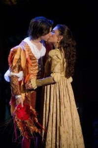 Susannah Millonzi is Juliet and David Gelles is Romeo in Shakespeare & Company's new production of 'Romeo and Juliet' (photo by Kevin Sprague)