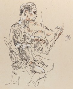 Sketch of violinist Jory Fankuchen at Tanglewood, 2003, by Sol Schwartz. ©2003 Sol Schwartz. All rights reserved.
