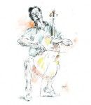 Illustration of Yo-Yo Ma by Sol Schwartz. ©Sol Schwartz. All rights reserved.