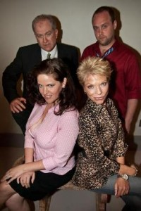 """Clockwise from top left) Daniel Popowich, Michael Foster, Deann Halper, Clover Bell-Devaney are the cast of """"Four Dogs and a Bone""""  (Photo by Enrico Spada.)"""