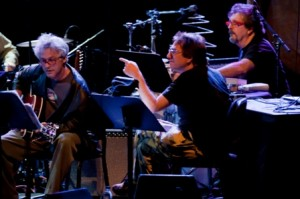 John Zorn with (l) Marc Ribot and (r) Cyro Baptista