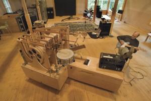 James Taylor in his barn studio