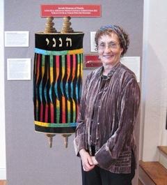 Barbara Barron with Torah cover