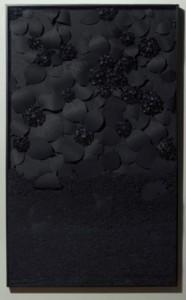 "An Arrangement Of Hydrangeas, by Lauren Fensterstock. paper and charcoal under glass, 60"" x 36"""