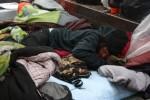 Protestor sleeping