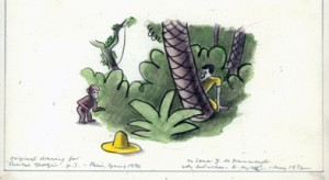 """H. A. Rey, final illustration for """"One day George saw a man. He had on a large yellow straw hat,"""" published in The Original Curious George (1998), France, 1939–40, watercolor, charcoal, and color pencil on paper. H. A. & Margret Rey Papers, de Grummond Children's Literature Collection, McCain Library and Archives, The University of Southern Mississippi."""