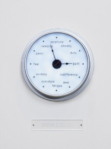 Raqs Media Collective, Escapement, 2009 (Detail). 27 clocks, high glass aluminium with LED lights, four flat screen monitors, video and audio looped. Dimensions variable. (Courtesy The Clark)