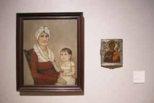 """""""Pairing"""": Ammi Phillips, Mrs Goodrich and Child, c. 1812, oil on canvas; Artist Unknown, Russian Icon, 16th century, tempera on wood panel with silver"""