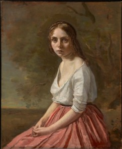 Jean-Baptiste-Camille Corot (French, 1796–1875), Young Woman in a Pink Skirt, c. 1845–50. Oil on canvas, 18 13/16 x 15 1/2 in. (47.8 x 39.3 cm). Sterling and Francine Clark Art Institute, Williamstown, Massachusetts, 1955.541