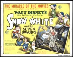 Poster with Snow White and Dwarfs Lobby card; print on paper Courtesy Walt Disney Animation Research Library; © Disney