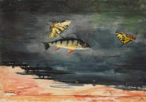 Winslow Homer (American, 1836–1910), Fish and Butterflies, 1900. Watercolor over graphite on cream wove paper, 14 7/16 x 20 11/16 in. (36.7 x 52.5 cm). Sterling and Francine Clark Art Institute, Williamstown, Massachusetts, 1955.775