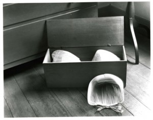 Objects like these net caps and wooden box were photographed to capture the unique Shaker design aesthetic for the Index of American Design. Photograph by Noel Vicentini 1936.