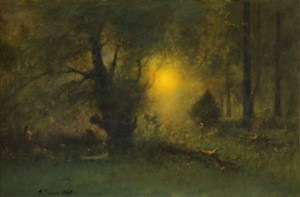 George Inness (American, 1825–1894), Sunrise in the Woods, 1887. Oil on canvas, 20 x 30 in. (50.8 x 76.2 cm). Sterling and Francine Clark Art Institute, Williamstown, Massachusetts. Gift of Frank and Katherine Martucci, 2013.1.6