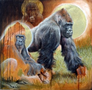 """Michael Rousseau, Reverence of the Gorillas - 36"""" x 36"""" - oil on linen with gold leaf"""