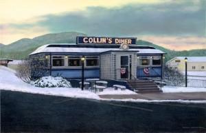 "Jeffrey L. Neumann, Collins Diner, oil on canvas 24""x36"" 2013"