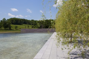 Reflecting Pool from Clark Center with view of Stone Hill