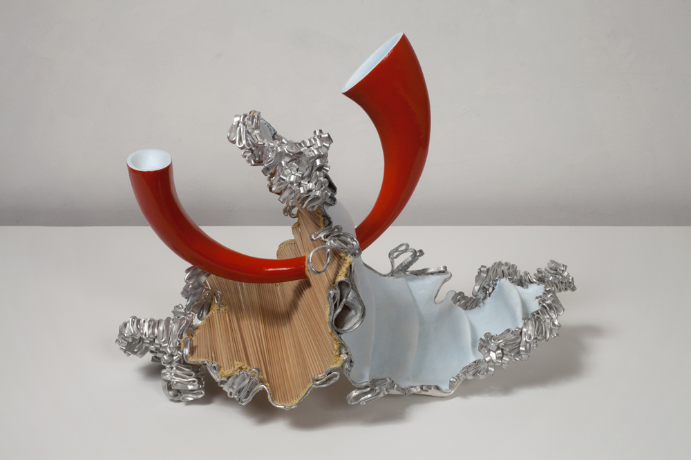 """John Newman, 'Ask the fact for the form (red collapse),' 2011, extruded aluminum, wood, Japanese paper, paper mache, wood putty, aqua resin, epoxy paste, acrylic and enamel paint, 18"""" x 24"""" x 24"""""""