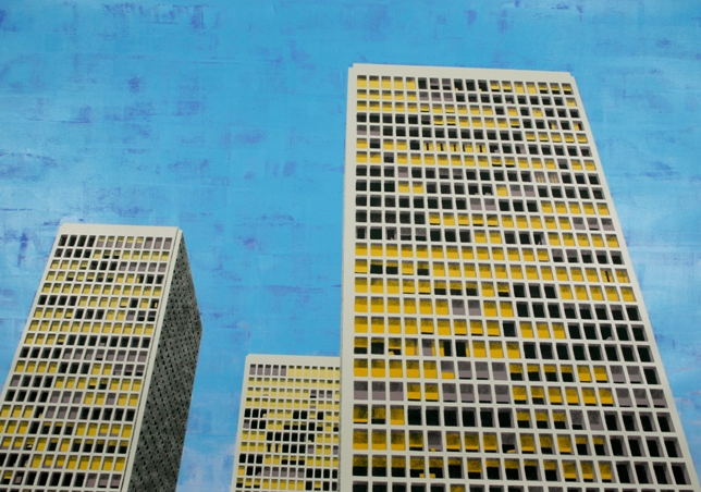 Philadelphia Towers (CY), 2011, by Michael McKay, acrylic on paper