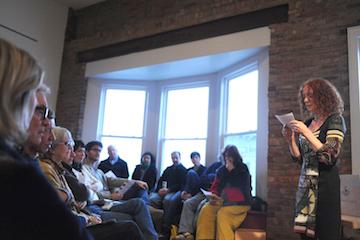 Writers Omi resident Els Beerten from Belgium reading in Hudson in spring 2013.