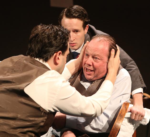 (l-r) Daniel Kahn (Biff), Lev Herskovitz (Happy), Avi Hoffman (Willy Loman) in 'Death of a Salesman' (photo Ronald L Glassman)