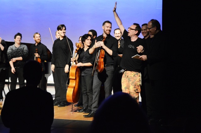 John Zorn surrounded by musicians at end of Miller Theatre premieres (photo Nina Roberts)